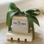 Natural olive oil soap and handmade cypress tray