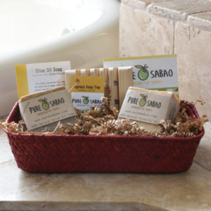 2 bars of imported olive oils soap, perfect gift basket, presented in a seagrass sea grass basket
