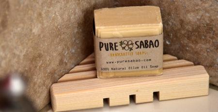 Handmade three side cypress soap tray