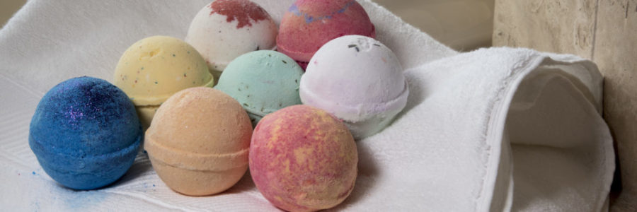 Organic bath bombs with essential oils, lavender, green tea, patchouli, natural scents